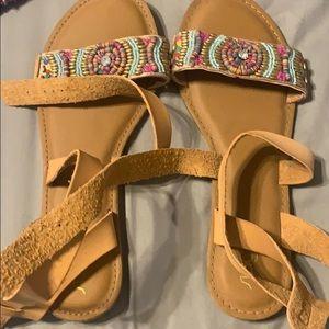 multi-colored strappy sandals